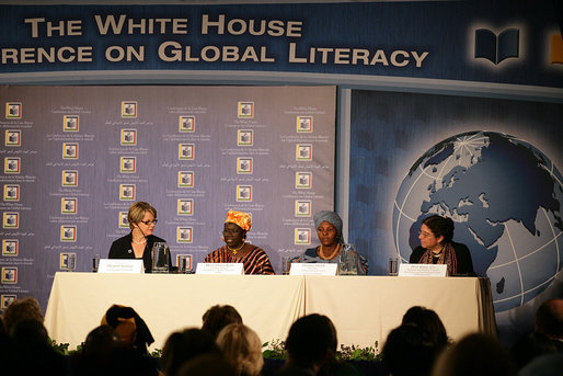 Secretary of Education Margaret Spellings participates in a panel discussion on Mother-Child Literacy and Intergenerational Learning during the White House Conference on Global Literacy Monday, Sept. 18, 2006, at the New York Public Library. Joining Secretary Spellings from left are: Maria Diarra Keita, Founding Director, Institute for Popular Education in Mali; Florence Molefe, Facilitator, the Family Literacy Project in South Africa, and Dr. Perri Klass, Medical Doctor and President of the Reach Out and Read National Center and Professor of Journalism and Pediatrics, New York University. White House photo by Shealah Craighead