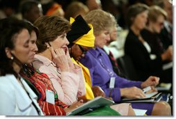 Mrs. Laura Bush listens to a panel discussion Monday, Sept. 18, 2006, during the White House Conference on Global Literacy held at the New York Public Library.  White House photo by Shealah Craighead