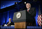 Vice President Dick Cheney tells a joke during remarks at the Jesse Helms Center Salute to Chairman Henry Hyde, Tuesday, September 19, 2006 in Washington, D.C. Joining the Vice President on stage is Rep. Henry Hyde, R-Ill., who has served in the U.S. Congress for more than 30 years. White House photo by Kimberlee Hewitt