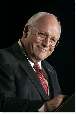 Vice President Dick Cheney smiles during his remarks at the Jesse Helms Center Salute to Chairman Henry Hyde, Tuesday, September 19, 2006 in Washington, D.C.  White House photo by Kimberlee Hewitt