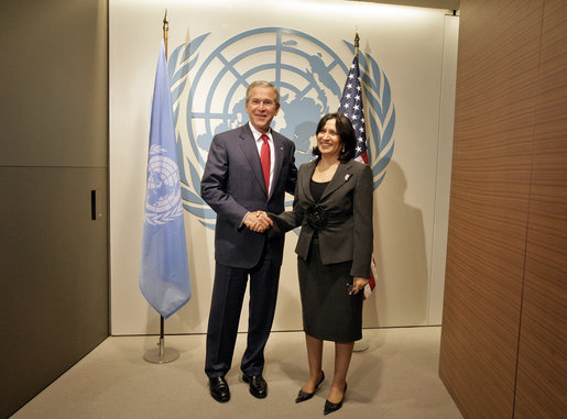 President George W. Bush meets with Sheikha Haya Rashed Al Khalifa of Bahrain, President of the 61st session of the United Nations General Assembly, Tuesday, Sept. 19, 2006, at the United Nations in New York City. White House photo by Eric Draper