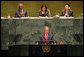 "President George W. Bush addresses the United Nations General Assembly in New York City Tuesday, Sept. 19, 2006. ""Five years ago, Afghanistan was ruled by the brutal Taliban regime, and its seat in this body was contested. Now this seat is held by the freely elected government of Afghanistan, which is represented today by President Karzai,"" said President Bush. White House photo by Shealah Craighead"