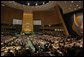 "President George W. Bush addresses the United Nations General Assembly in New York City Tuesday, Sept. 19, 2006. ""Five years ago, I stood at this podium and called on the community of nations to defend civilization and build a more hopeful future,"" said President Bush. ""This is still the great challenge of our time; it is the calling of our generation."" White House photo by Shealah Craighead"