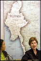 Mrs. Laura Bush speaks to panelists, including Hseng Noung, a Burmese activist and founding member of the Shan Women, Action Network, during a roundtable discussion about the humanitarian crisis facing Burma at the United Nations in New York City Tuesday, Sept. 19, 2006. White House photo by Shealah Craighead