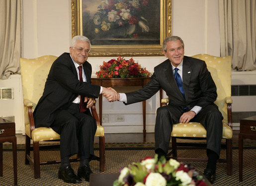 President George W. Bush meets with President Mahmoud Abbas of the Palestinian Authority, Wednesday, Sept. 20, 2006, during the President's visit to New York City for the United Nations General Assembly. White House photo by Eric Draper