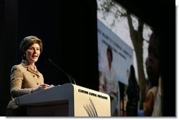 Mrs. Bush announces a $60 million public-private partnership between the U.S. Government and the Case Foundation at President Bill Clinton's Annual Global Initiative Conference in New York, NY, Wednesday, September 20, 2006. The partnership will work to provide clean water to up to 10 million people in sub-Sahara Africa by 2010, and support the provision and installation of PlayPump water systems in approximately 650 schools, health centers and HIV affected communities. PlayPump water system is powered by children's play consisting of a merry-go-round attached to a water pump with a storage tank. White House photo by Shealah Craighead