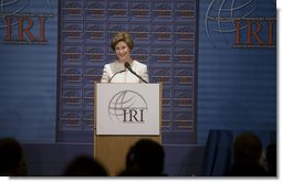 Mrs. Laura Bush delivers remarks during the International Republican Institute's 2006 Freedom Award dinner in Washington, D.C., Thursday, September 21, 2006. Mrs. Bush and Ellen Johnson Sirleaf, President of Liberia, were presented the 2006 Freedom Award which recognizes their work in encouraging women to participate in democratic process. White House photo by Shealah Craighead