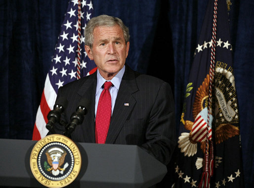 President George W. Bush remarks on an agreement reached with Senate Republicans regarding interrogation legislation during a visit to Orlando, Fla., Thursday, Sept. 21, 2006. White House photo by Paul Morse