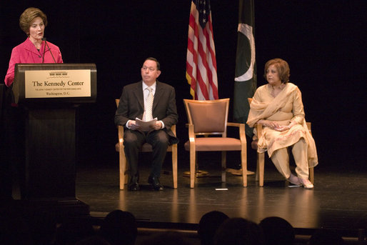 "Mrs. Laura Bush, joined by President Michael Kaiser of the John F. Kennedy Center for the Performing Arts, and Mrs. Sehba Musharraf, wife of Pakistan's President Pervez Musharraf, delivers remarks during a presentation for the launching of a new Pakistani arts and cultural website Thursday, September 21, 2006, at The Kennedy Center in Washington, D.C. The website is created by the Pakistan National Council the Arts and The Kennedy Center and is called, ""Gift of the Indus: The Arts and Culture of Pakistan."" White House photo by Shealah Craighead"