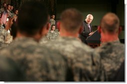 Vice President Dick Cheney thanks members of the Michigan National Guard for their service in the war on terror during an address delivered Monday, September 25, 2006, at the Grand Valley Armory in Wyoming, Mich. Since September 11, 2001, approximately 75 percent of the Michigan Guard has been deployed in support of Operation Iraqi Freedom and Operation Enduring Freedom.  White House photo by David Bohrer