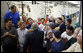 President George W. Bush greets employees of Meyer Tool Inc. Monday, Sept. 25, 2006 in Cincinnati, Ohio, where he took a tour of the facility and spoke about the strength of the U.S. economy and how vital small businesses are to the nation's economic vitality. White House photo by Paul Morse