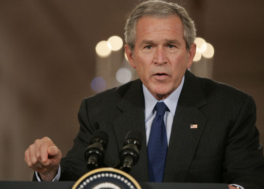 "President George W. Bush offers remarks Tuesday, Sept. 26, 2006, during a joint press availability in the East Room with President Hamid Karzai, of the Islamic Republic of Afghanistan. Said the President, ""The fighting in Afghanistan is part of a global struggle. Every victory in the war on terror enhances the security of free peoples everywhere."" White House photo by Paul Morse"