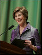 Mrs. Laura Bush welcomes guests to the 2006 National Book Festival Gala, an annual event of books and literature, Friday evening, Sept. 29, 2006 at the Library of Congress in Washington, D.C. White House photo by Paul Morse