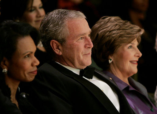 President George W. Bush and Laura Bush attend the 2006 National Book Festival Gala, an annual event of books and literature, Friday evening, Sept. 29, 2006 at the Library of Congress in Washington, D.C., joined by U.S. Secretary of State Condoleezza Rice, left. White House photo by Paul Morse