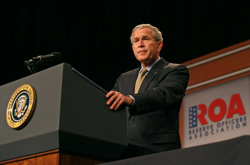 "President George W. Bush discusses the Global War on Terror during an address to the Reserve Officers Association Friday, Sept. 29, 2006. ""This is the call of a generation, to stand against the extremists and support moderate leaders across the broader Middle East, to help us all secure a future of peace,"" said the President. White House photo by Eric Draper"