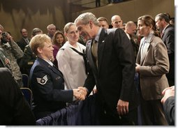 President George W. Bush greets audience members after addressing the Reserve Officers Association Friday, Sept. 29, 2006. White House photo by Eric Draper