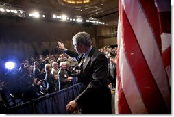 President George W. Bush waves after addressing the Reserve Officers Association Friday, Sept. 29, 2006. White House photo by Eric Draper