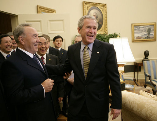 President George W. Bush welcomes Kazakhstan President Nursultan Nazarbayev to the Oval Office at the White House, Friday, Sept. 29, 2006. White House photo by Eric Draper