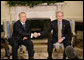 President George W. Bush and Kazakhstan President Nursultan Nazarbayev shake hands during their meeting Friday, Sept. 29, 2006 in the Oval Office at the White House. White House photo by Eric Draper