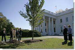 President George W. Bush and Laura Bush take part in the planting of three elm trees on the north grounds of the White House Monday, Oct. 2, 2006. The trees, cultivated by the National Park Service, replace trees recently lost to age, winds and Dutch elm disease. The new trees were grown to be resistant to the disease. White House photo by Eric Draper