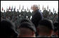 Vice President Dick Cheney stands amidst some 8,500 troops, Wednesday, October 4, 2006, during a rally at Fort Hood, Texas. Fort Hood is the largest active duty armored post in the United States Armed Services and supports two full armored divisions, the 1st Cavalry Division and 4th Infantry Division (Mechanized). White House photo by David Bohrer
