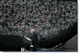 "Vice President Dick Cheney delivers remarks at a rally for the troops at Fort Hood, Texas, Wednesday, October 4, 2006. ""Each time I visit a military base I come away with renewed confidence in the men and women who wear the uniform of the United States,"" the Vice President said. ""Each one of you has dedicated yourself to serving our country and its ideals, and you are meeting that commitment during a very challenging time in American history.""  White House photo by David Bohrer"