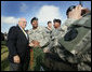 Vice President Dick Cheney pauses for a photo with a soldier at Fort Hood, Texas after delivering remarks at a rally for the troops, Wednesday, October 4, 2006. White House photo by David Bohrer