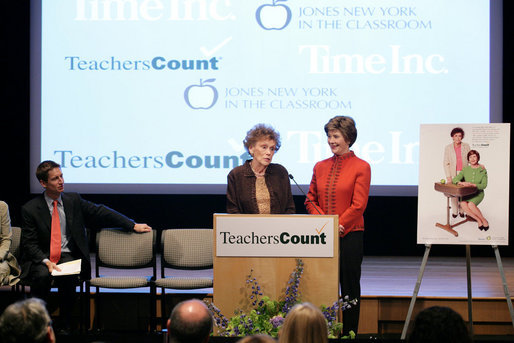 "Mrs. Laura Bush stands with her second grade teacher, Charlene Gnagy, as Mrs. Gnagy speaks to the audience Thursday, October 5, 2006, during the TeachersCount ""Behind every famous person is a fabulous teacher"" PSA campaign launch ceremony in New York City. The campaign is to help create awareness for teachers and the role they play in the lives of children and to raise the status of the teaching profession. White House photo by Shealah Craighead"