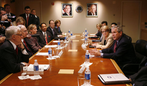 President George W. Bush and U.S. Secretary of Education Margaret Spellings meet with senior officials of the U.S. Department of Education Thursday, Oct. 5, 2006, during a briefing on the implementation of No Child Left Behind law and to highlight the President's education agenda. White House photo by Paul Morse