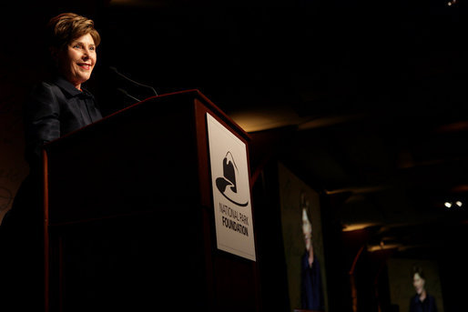 Mrs. Laura Bush delivers remarks during the National Park Foundation's Gala Thursday, October 5, 2006 in New York City. The foundation supports youth engagement, education, health and wellness programs and strengthens the connection between the American people and their National Parks and by raising private funds and increasing public awareness. White House photo by Shealah Craighead