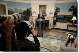 President George W. Bush delivers a statement on North Korea from the Diplomatic Reception Room of the White House, Monday, Oct. 9, 2006. White House photo by Kimberlee Hewitt