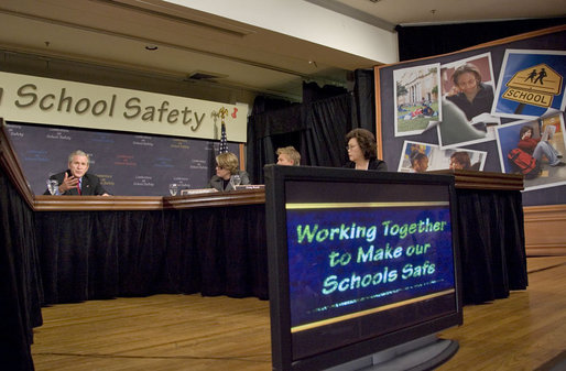 "President George W. Bush participates in a panel on school safety at the National 4-H Conference Center in Chevy Chase, Md., Tuesday, Oct. 10, 2006. ""All of us in this country want our classrooms to be gentle places of learning, places where people not only learn the basics -- basic skills necessary to become productive citizens, but learn to relate to one another,"" said President Bush. ""And our parents I know want to be able send their child or children to schools that are safe places."" White House photo by Kimberlee Hewitt"