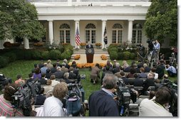 "President George W. Bush discusses North Korea during a press conference in the Rose Garden Wednesday, Oct. 11, 2006. ""I've spoken with other world leaders, including Japan, China, South Korea, and Russia,"" said President Bush. ""We all agree that there must be a strong Security Council resolution that will require North Korea to abide by its international commitments to dismantle its nuclear programs."" White House photo by Paul Morse"