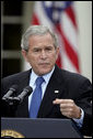 President George W. Bush holds a press conference in the Rose Garden Wednesday, Oct. 11, 2006. �In response to North Korea's actions, we're working with our partners in the region and the United Nations Security Council to ensure there are serious repercussions for the regime in Pyongyang,� said President Bush. White House photo by Paul Morse