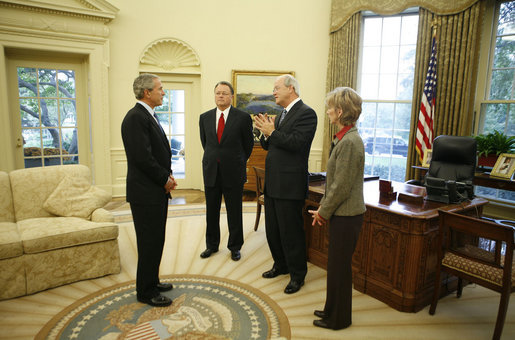 President George W. Bush meets with the leadership of the Southern Baptist Convention in the Oval Office Wednesday, Oct. 11, 2006. Pictured with the President are Dr. Morris Chapman, left, Dr. Frank Page and his wife Dayle Page. White House photo by Paul Morse