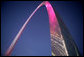 The Gateway Arch in St. Louis was illuminated in pink in honor of Breast Cancer Awareness Month during the Arch Lighting for Breast Cancer Awareness Thursday, Oct. 12, 2006. Mrs. Laura Bush delivered remarks and met with the audience members during the event. White House photo by Shealah Craighead