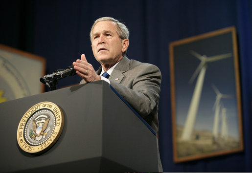 "President George W. Bush addresses the Renewable Energy Conference in St. Louis, Mo., Thursday, Oct. 12, 2006. The President discussed the development of new energy sources that reduce America's consumption of oil, such as hydrogen. ""Ultimately, in my judgment, one of the ways to make sure that we become fully less dependent on oil is through hydrogen. And we're spending $1.2 billion to encourage hydrogen fuel cells. It's coming, it's coming,"" said the President. ""It's an interesting industry evolution, to think about your automobiles being powered by hydrogen, and the only emission is water vapor."" White House photo by Eric Draper"