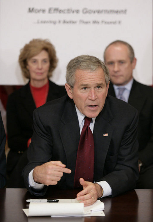 President George W. Bush addresses members of the President's Management Council, Friday, Oct. 13, 2006, in a meeting at the Eisenhower Executive Office Building in Washington, D.C. The council met to discuss the President's Management Agenda accomplishments, which will be summarized in a government-wide report to Federal employees and Congress on the state of the government's management practices. White House photo by Eric Draper