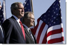 President George W. Bush with Secretary of Defense Donald Rumsfeld at the dedication of the United States Air Force Memorial in Arlington, Virginia on October 14, 2006. White House photo by Paul Morse