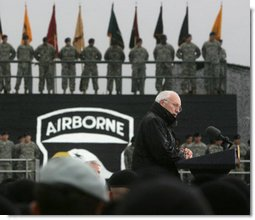 "Vice President Dick Cheney addresses members of the 101st Airborne Division at Fort Campbell Army Base in Fort Campbell, Ky., Monday, October 16, 2006. ""Last month in Iraq, you completed a year-long deployment that reflected tremendous credit on the Army, and helped to move a liberated country one step closer to a future of security and peace,"" the Vice President said. ""The 101st carried out air assault missions against the enemies of freedom, provided security for national elections, trained some 32,000 police, helped provide border protection, and turned over more territory to 35 Iraqi Army battalions, so they can take the lead in defending their own country."" White House photo by David Bohrer"