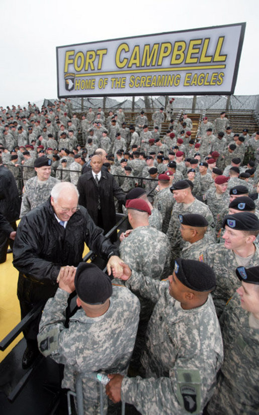 Vice President Dick Cheney greets members of the 101st Airborne Division during a visit to Fort Campbell Army Base in Fort Campbell, Ky., Monday, October 16, 2006. White House photo by David Bohrer