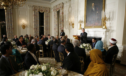 President George W. Bush addresses the Iftaar Dinner with Ambassadors and Muslim leaders in the State Dining Room of the White House, Monday, Oct. 16, 2006. White House photo by Paul Morse
