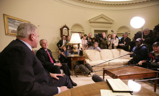President George W. Bush and the Prime Minister of the Republic of Croatia H.E. Ivo Sanader meet with members of the media in the Oval Office at the White House, Tuesday, Oct. 17, 2006. White House photo by Eric Draper