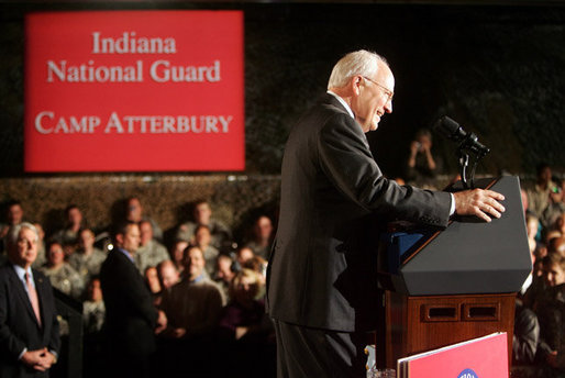 Vice President Dick Cheney smiles in response to a welcome given by troops and families at a rally for the Indiana Air and Army National Guard at Camp Atterbury in Edinburgh, Indiana, Friday, October 20, 2006. White House photo by David Bohrer