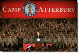 "Vice President Dick Cheney addresses troops and families of the Indiana Air and Army National Guard at Camp Atterbury, Indiana, Friday, October 20, 2006. ""The citizen soldier is absolutely vital to protecting this nation and to preserving our freedom. We know this from history, and we know it from current events,"" the Vice President said. ""In this time of war we have turned to National Guard personnel for missions that are difficult and dangerous. You've never let us down.""  White House photo by David Bohrer"
