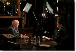 Vice President Dick Cheney participates in a radio and television interview with Sean Hannity of FOX News in the Vice President's Ceremonial Office during the White House Radio Day, Tuesday, October 24, 2006. White House photo by David Bohrer