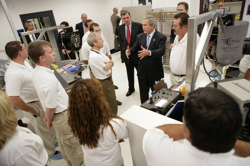 President George W. Bush speaks to employees at Gyrocam Systems in Sarasota, Fla., during an unannounced visit Tuesday, Oct. 24, 2006. Gyrocam Systems is known as an industry leader in airborne surveillance used for both law enforcement and homeland security. White House photo by Eric Draper