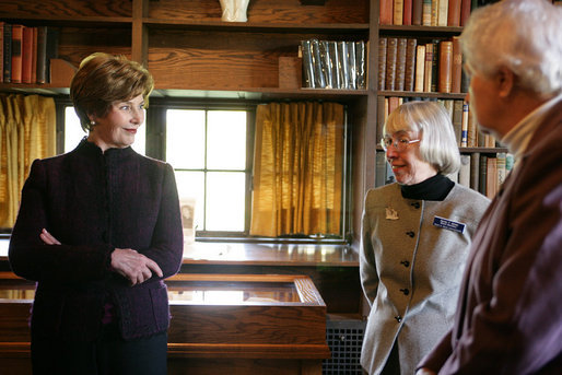 Mrs. Laura Bush listens to Sandy Bates, Secretary of the Board for Pearl S. Buck International, center, and Janice Walsh, daughter of Pearl S. Buck, right, Tuesday, October 24, 2006, during a tour of the Pearl S. Buck House National Landmark, a 2005 Save America's Treasures grant recipient, in Perkasie, Pennsylvania. Pearl S. Buck was the first woman to win the Nobel and Pulitzer Prizes and also dedicated her life to promoting tolerance, human rights and inter-cultural understanding. White House photo by Shealah Craighead
