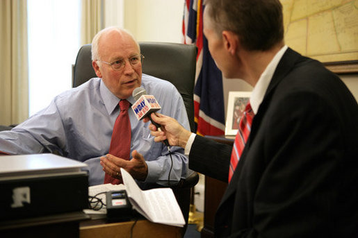 Vice President Dick Cheney is interviewed by Scott Hennen, host of the Hot Talk radio program on WDAY AM 970 in Fargo, N.D., during the White House Radio Day, Tuesday, October 24, 2006. White House photo by David Bohrer
