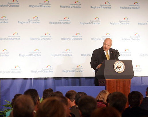 Vice President Dick Cheney delivers remarks on the economy and global war on terror to business leaders attending the 2006 Election Forum of the Cincinnati USA Regional Chamber of Commerce, Wednesday, October 25, 2006 in Cincinnati, Ohio. The Chamber is the fifth largest in the nation and extends service to Southwest Ohio, Northern Kentucky and Southeastern Indiana. White House photo by David Bohrer
